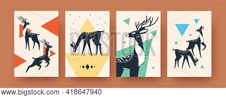 Colorful Deer Collection Of Contemporary Art Posters. Proud Wild Deer Vector Illustrations. Forest A