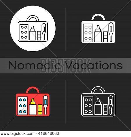 Small First Aid Kit Dark Theme Icon. Health Care Emergency Bag. Roadtrip Gear. Camping Trip Necessit