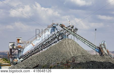Mining Equipment And An Escalator Over Rock Dumps At   Diamond Mine. Conveyor Belt With   Cone Of A
