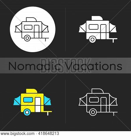 Pop Up Camper Dark Theme Icon. Campground For Tourist To Rest. Recreational Vehicle. Nomadic Lifesty