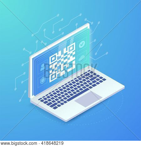 Qr Link On Website Banner. Qr Code On Laptop Screen. 3d Scan Barcode Concept, Online Qr Pay, Verific