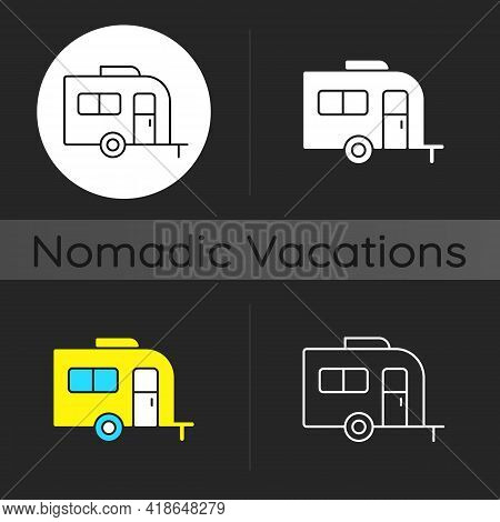 Caravan Dark Theme Icon. Trailer For Nomads Lifestyle. Roadtrip Transportation. Trailer For Trip Dur