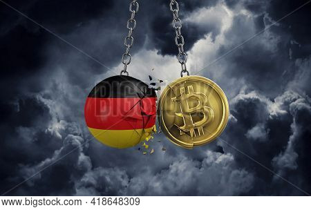 Germany Flag Smashing Into A Gold Bitcoin Crypto Coin. 3d Rendering