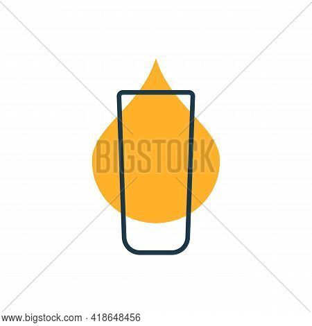 Modern Abstract Illustration With Glass Rum With Color Blob. Linear Outline Sign. Logo Illustrationo