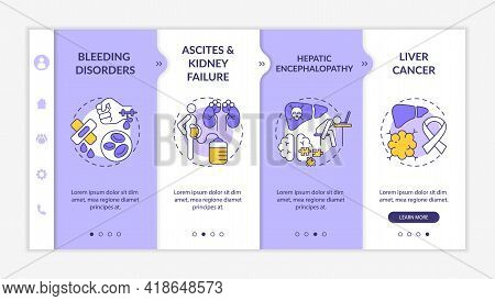 Hepatic Insufficiency Outcome Onboarding Vector Template. Responsive Mobile Website With Icons. Web