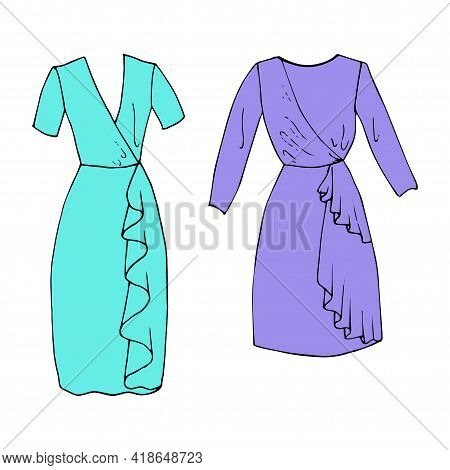 Pastel Colorful Slim Middle Dresses Sethand Drawn Sketch Slim Short Dress. Simple Flat Vector Isolat