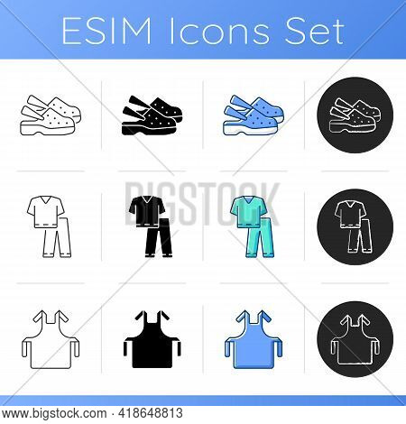Disposable Medical Uniform Icons Set. Medical Shoes. Scrub Suit. Hospital Safety. Disposable Ppe. St