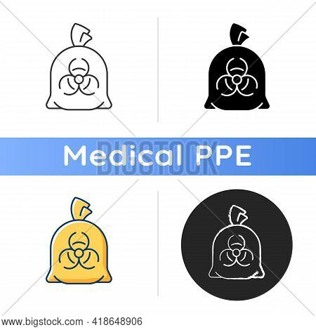 Infectious Waste Bag Icon. Disposable Biohazard Trash. Clinical Garbage, Chemical Hospital Waste. Qu