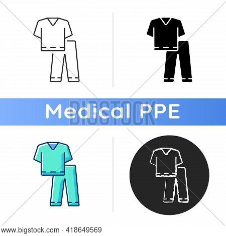 Scrub Suit Icon. Top And Trousers For Nurse. Suit To Work In Clinic. Protective Wear For Hospital Pr
