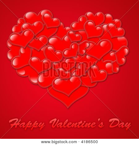 Hearts for valentine day on a red background illustration. poster