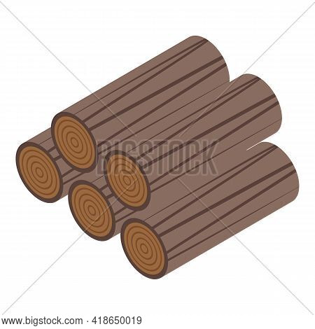 Wooden Logs Icon. Isometric Of Wooden Logs Vector Icon For Web Design Isolated On White Background