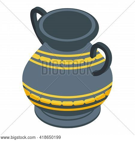 Ancient Amphora Icon. Isometric Of Ancient Amphora Vector Icon For Web Design Isolated On White Back