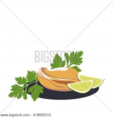 Vector Mussel With Parsley And Lime On A Black Plate. Seafood Isolated On A White Background