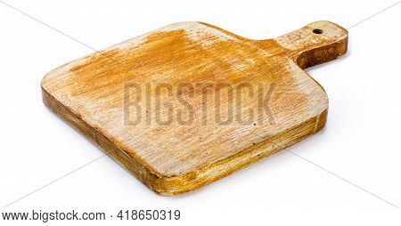 Chopping Board, Handmade Wooden Kitchen Board, Vintage Rustic Kitchen Utensil, Isolated White Backgr