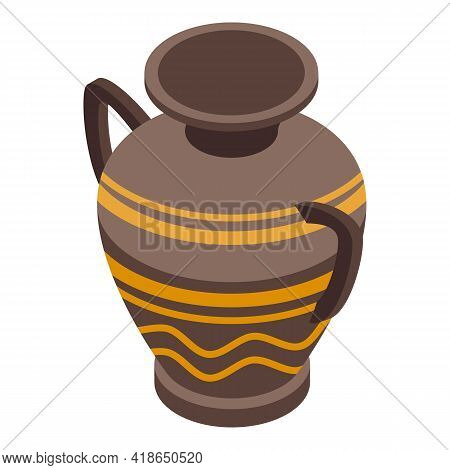 Antique Amphora Icon. Isometric Of Antique Amphora Vector Icon For Web Design Isolated On White Back