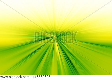 Abstract Radial Zoom Blur Surface Of Light Green And Yellow Tones. Abstract Bright Green Background