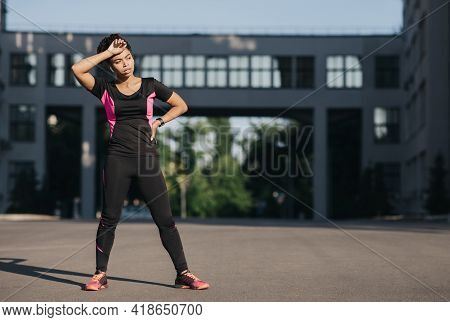 Jogging For Beginner, Hard Training And Respite, Sport Outdoor, Urban Fitness And Workout On Street