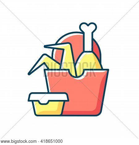 Takeaway Fried Chicken Rgb Color Icon. Crispy Chicken Wings, Legs Bucket. Fast-food Restaurant. Red
