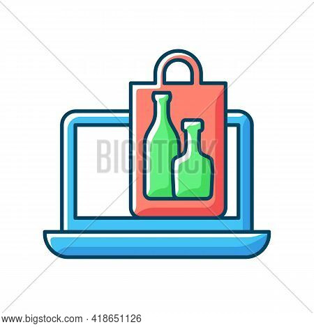 Online Drinks Ordering Rgb Color Icon. Purchasing Alcohol Online. Alcoholic Beverages Home Delivery