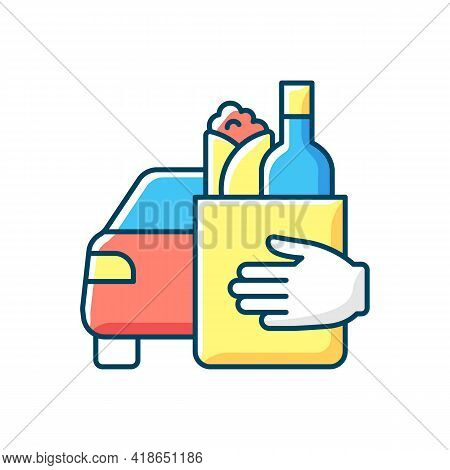 Drinks And Food Curbside Pickup Rgb Color Icon. Delivery To Consumer Vehicle. New Revenue For Restau