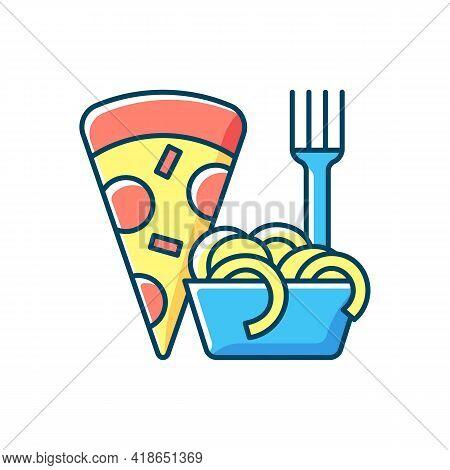 Takeaway Italian Food Rgb Color Icon. Pizza And Pasta. Italian Cuisine Delivery. Spaghetti And Meatb