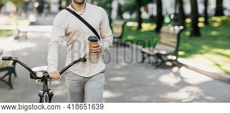 Delicious Takeaway Coffee On Way To Work, Enjoying Latte And Walking