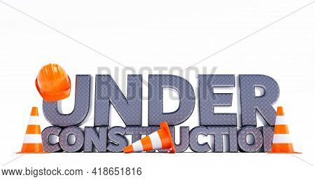 Metal Under Construction, With Traffic Cones, 3d Render