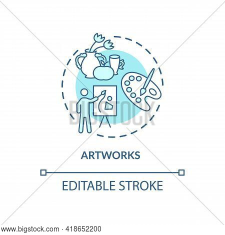 Artworks Concept Icon. Copyright Object Idea Thin Line Illustration. Intellectual Property Rights Pr