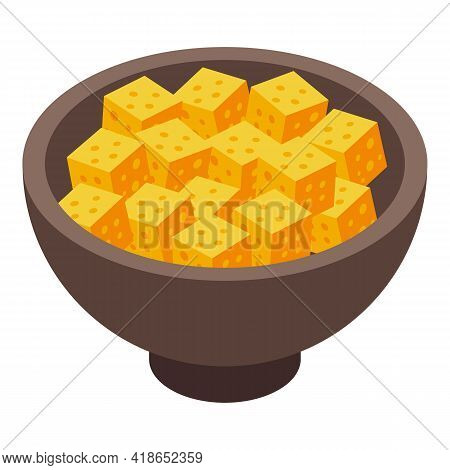Bowl Cheese Icon. Isometric Of Bowl Cheese Vector Icon For Web Design Isolated On White Background