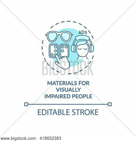 Materials For Visually Impaired People Concept Icon. Exception Idea Thin Line Illustration. Using Pr