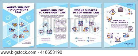Works Subject To Copyright Law Brochure Template. Steal Product. Flyer, Booklet, Leaflet Print, Cove