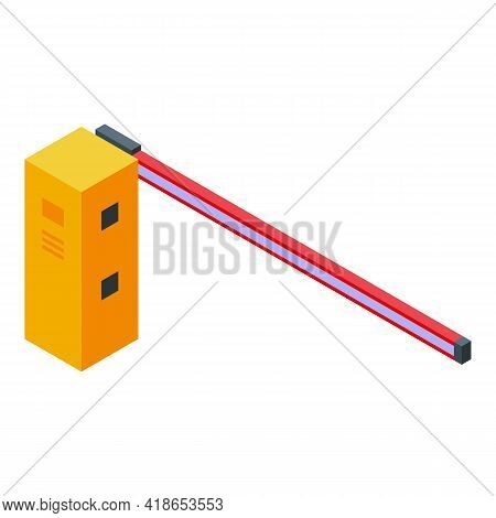 Railroad Barrier Icon. Isometric Of Railroad Barrier Vector Icon For Web Design Isolated On White Ba