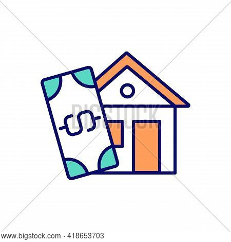 Home Buying Process Rgb Color Icon. Real Estate Investment. Mortgage Deposit. Purchasing, Selling, R
