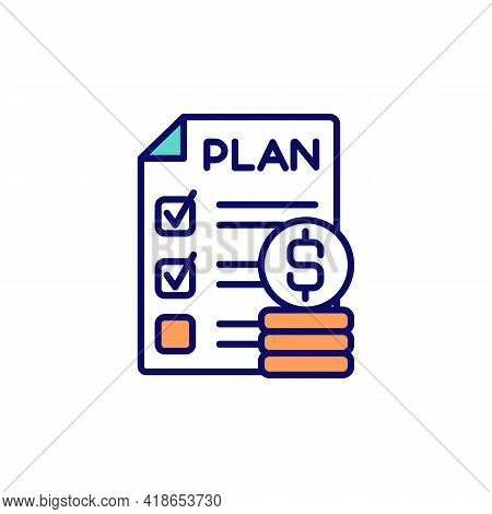 Personal Budget Planning Rgb Color Icon. Financial Goals Achievement. Statements And Receipts. Budge
