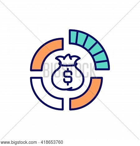 Assets Management Rgb Color Icon. Wealth Distribution. Company Equities, Shares. Dynamic Economy. In