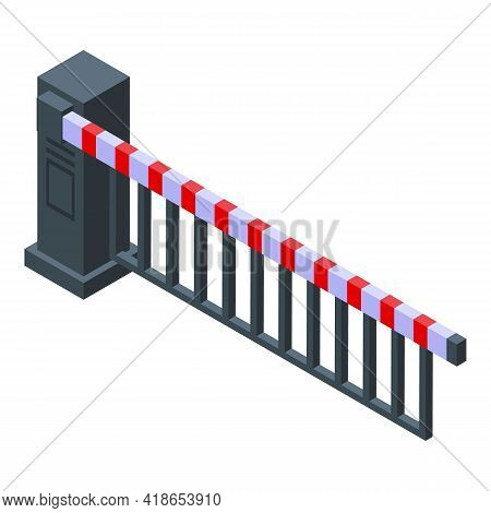 Caution Rail Barrier Icon. Isometric Of Caution Rail Barrier Vector Icon For Web Design Isolated On