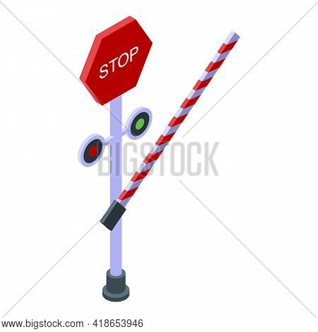 Stop Sign Barrier Icon. Isometric Of Stop Sign Barrier Vector Icon For Web Design Isolated On White