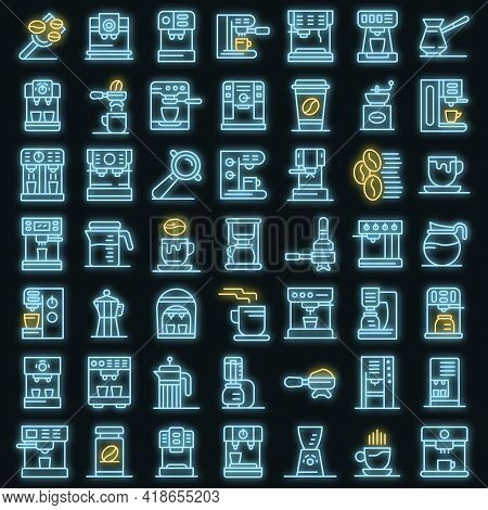 Coffee Machine Icons Set. Outline Set Of Coffee Machine Vector Icons Neon Color On Black