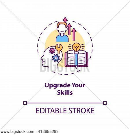 Upgrade Your Skills Concept Icon. Look For Ways To Develop New Skills Idea Thin Line Illustration. L