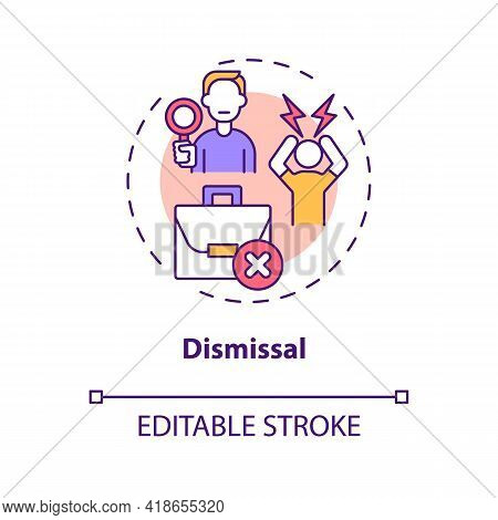 Dismissal Concept Icon. Job Transition Reason Idea Thin Line Illustration. Rely On Relationships Aft