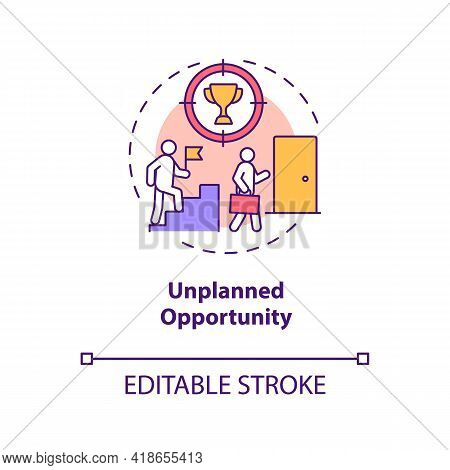 Unplanned Opportunity Concept Icon. Positive Situation Unexpectedly Manifests Idea Thin Line Illustr