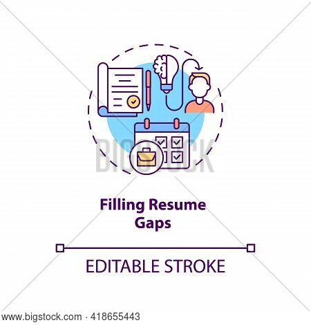 Filling Resume Gaps Concept Icon. More Experience Idea Thin Line Illustration. Transition Job Pros.