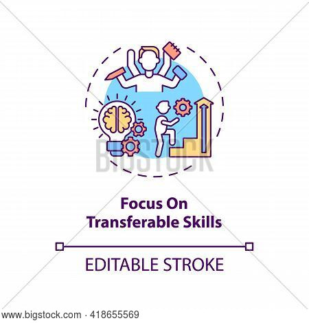 Focus On Transferable Skills Concept Icon. Portable Skills Idea Thin Line Illustration. Transition J