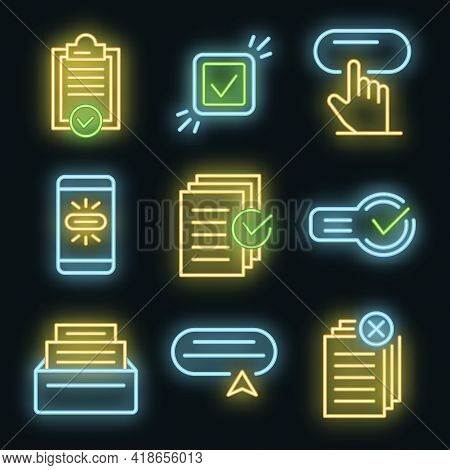 Request Icons Set. Outline Set Of Request Vector Icons Neon Color On Black