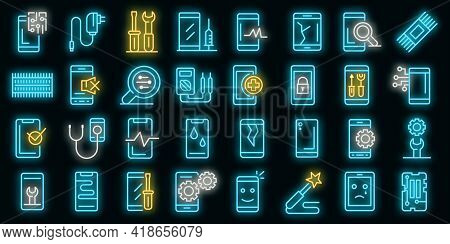Mobile Phone Repair Icons Set. Outline Set Of Mobile Phone Repair Vector Icons Neon Color On Black