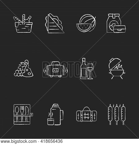 Picnic Chalk White Icons Set On Black Background. Heaving Picnic Hamper. Ham And Cheese Sandwich. Wa