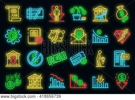 Bankrupt Icons Set. Outline Set Of Bankrupt Vector Icons Neon Color On Black