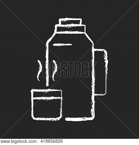 Vacuum Flask Chalk White Icon On Black Background. Keeping Coffee And Tea Hot. Thermos Flask. Leak-p