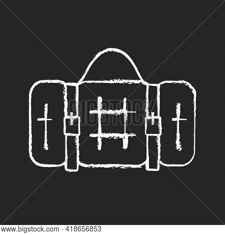 Picnic Blanket Chalk White Icon On Black Background. Houseware Item. Cloth Napkin. Backpacking Trip.
