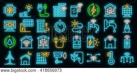 Autonomous House Icons Set. Outline Set Of Autonomous House Vector Icons Neon Color On Black
